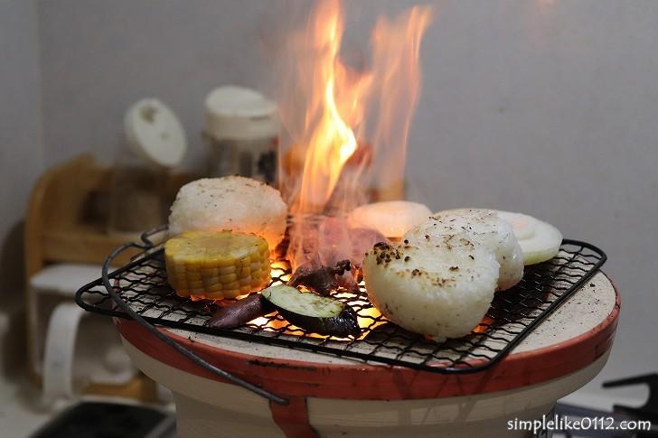 自宅で七輪炭火焼肉