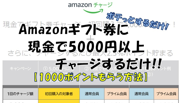 Amazonチャージで1000ポイントもらう