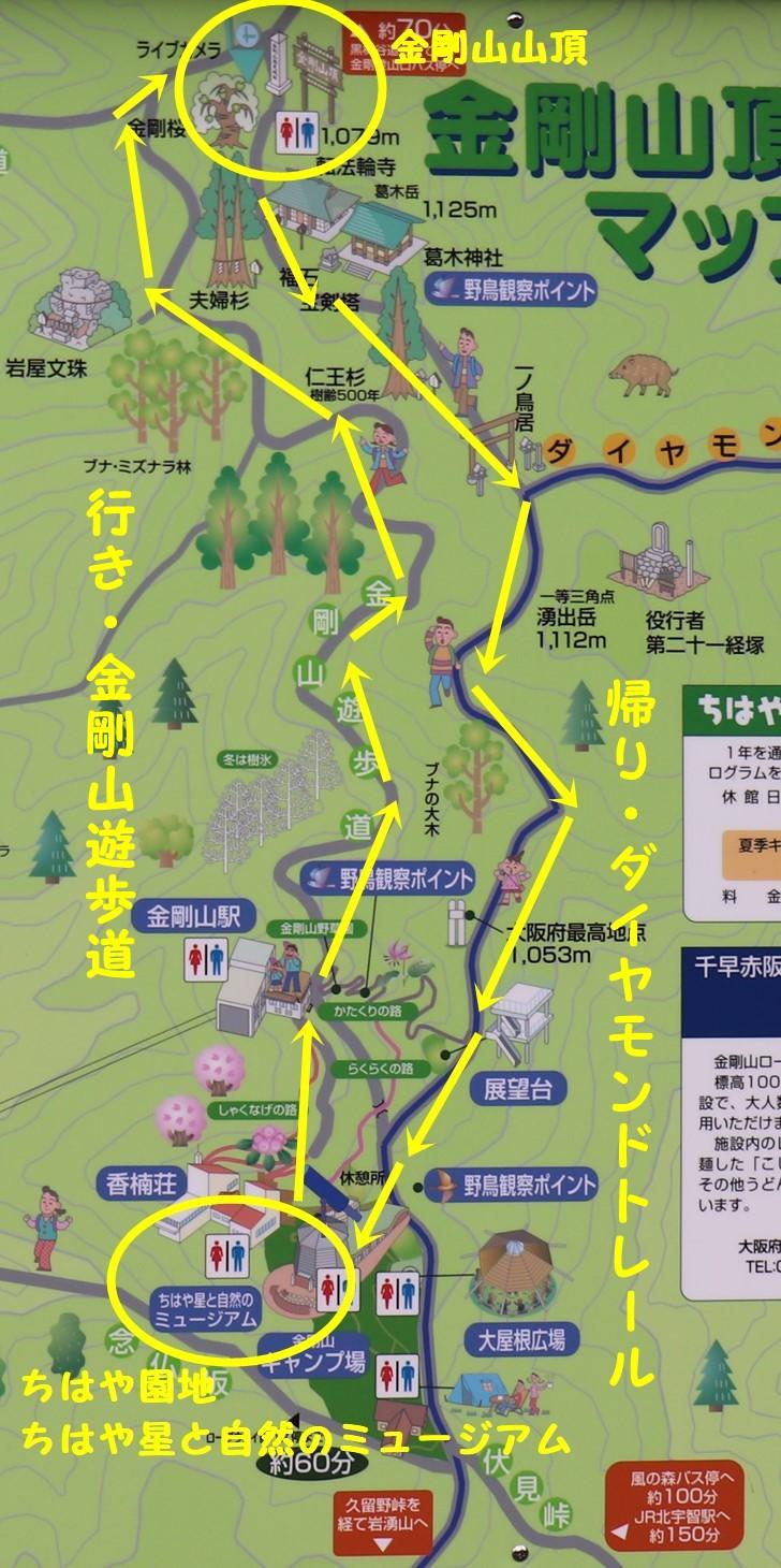 金剛山周遊ハイキングコースマップ