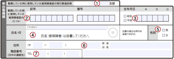 任意継続被保険者資格取得申出書の記入方法