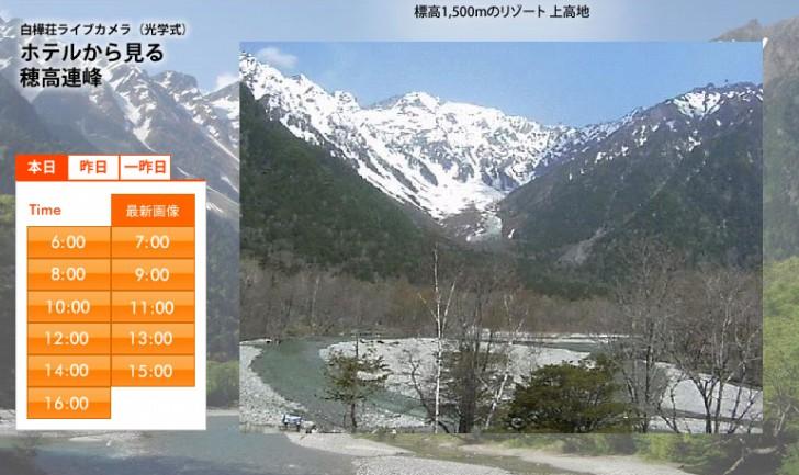 【穂高連峰】ホテル白樺荘のライブカメラ