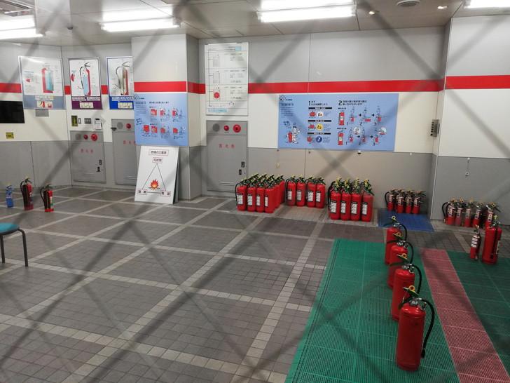 京都市市民防災センターの消火体験コーナー