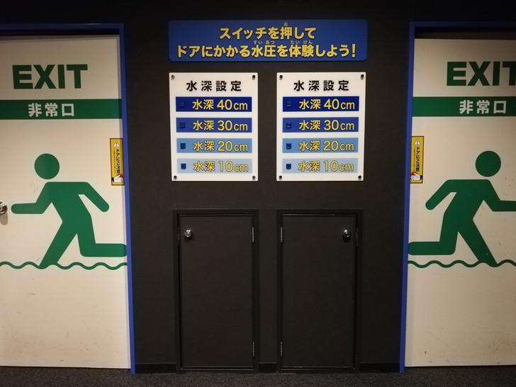 京都市市民防災センターのドアにかかる水圧体験