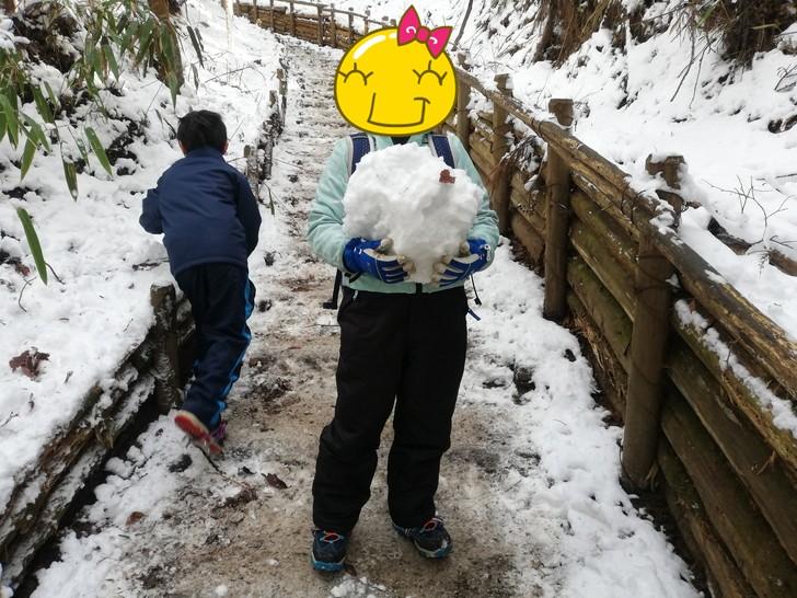 冬の金剛山千早本道で雪遊び