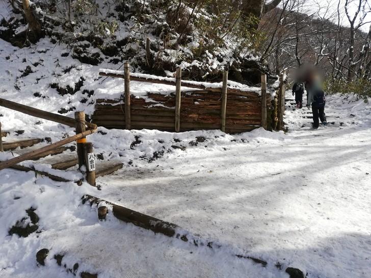 冬の金剛山千早本道八合目に分岐