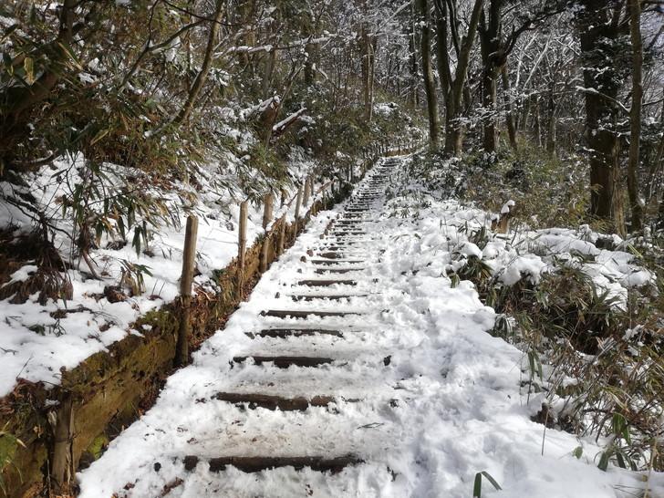 冬の金剛山千早本道九合目までの登山道
