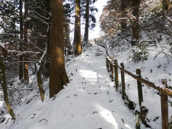 冬の金剛山千早本道九合目の分岐・近道のようす