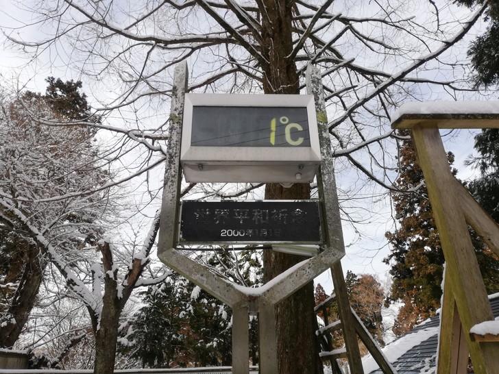 冬の金剛山山頂は気温1℃