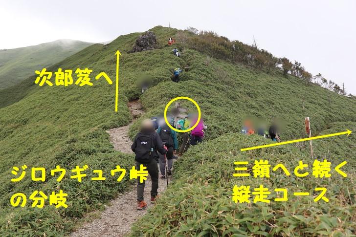 剣山から次郎笈縦走までの縦走コース:ジロウギュウ峠の分岐